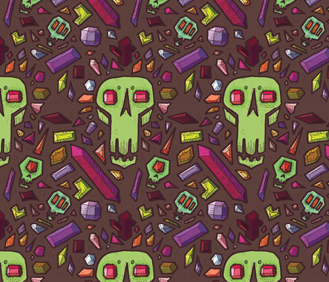 Crystal Skulls fabric by dine_on_doodles on Spoonflower - custom fabric