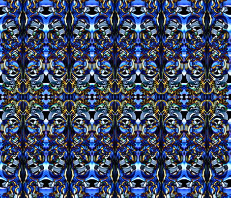 Abstract ornament in blue and gold fabric by whimzwhirled on Spoonflower - custom fabric