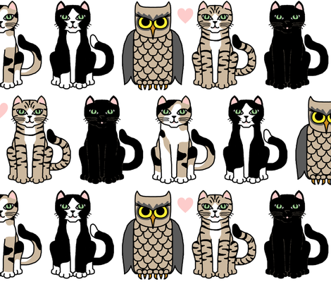 cats and the owl fabric by victorialasher on Spoonflower - custom fabric