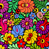 Colorfloral Fiesta colorful folk floral