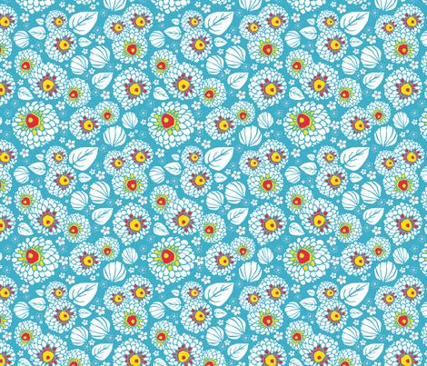 PomPom Flowers Blue fabric by louiseharris on Spoonflower - custom fabric