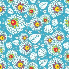 PomPom Flowers Blue