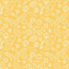 Sunny Yellow Graphic Leaves