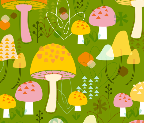 Fabulous Fungi: Grass fabric by nadiahassan on Spoonflower - custom fabric