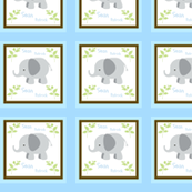 Grey Elephant Blue/Brown Quilt -Personalized Sean Patrick Horizontal