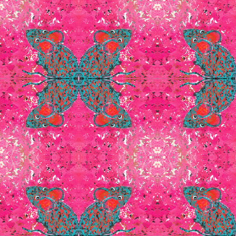 Teal Mouse Quad Hot Pink fabric by peaceofpi on Spoonflower - custom fabric