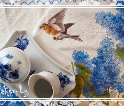 Lilacs and Skylark Tea Towel
