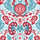 Kidney Damask Red/Teal