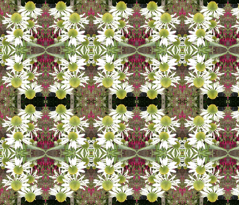 white flowers mirror image2 fabric by koalalady on Spoonflower - custom fabric