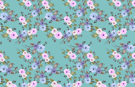 Wedding Roses on Light Teal fabric by thistleandfox on Spoonflower - custom fabric