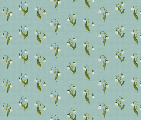 Lily Green on Vintage Seafoam Linen  fabric by thistleandfox on Spoonflower - custom fabric