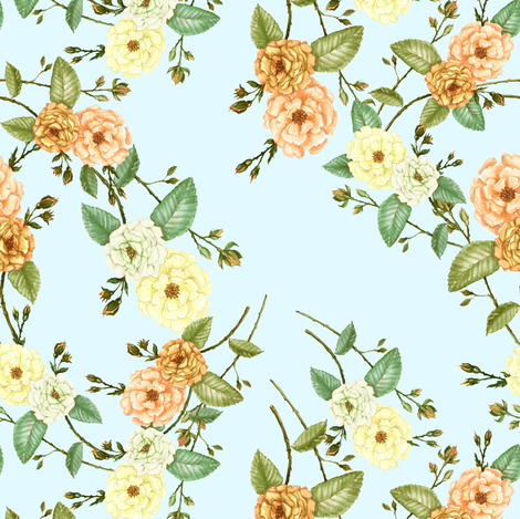 Yellow & Coral Roses on Blue fabric by thistleandfox on Spoonflower - custom fabric