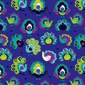 Blue india peacock birds illustration pattern