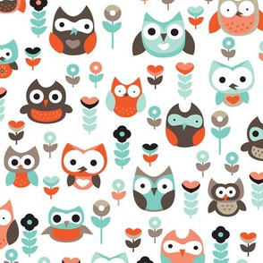 Mint and orange owl illustration  mint coral gender neutrals