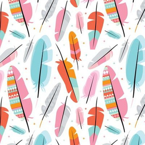 Geometric feathers and aztec details illustration pattern