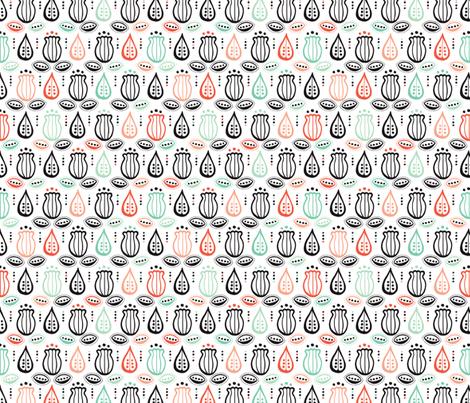 Retro garden poppy flowers fabric by littlesmilemakers on Spoonflower - custom fabric