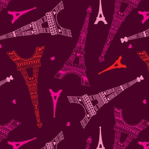 Paris love illustration eiffel tower in pink and maroon