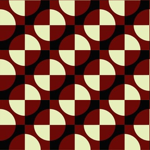 Harlequin circles and squares in rust