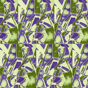 Art Deco cello quartet in moss and purple