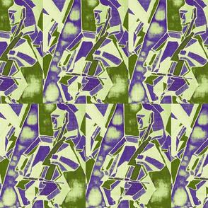 Art Deco cello quartet in moss and purple