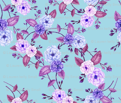 Rose Lilac on Bright Blue