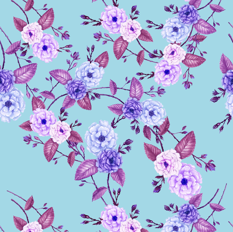 Rose Lilac on Bright Blue fabric by thistleandfox on Spoonflower - custom fabric