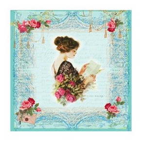Victorian Girl Red Roses