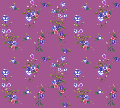 Pansies & Peonies in Royal Purple fabric by thistleandfox on Spoonflower - custom fabric