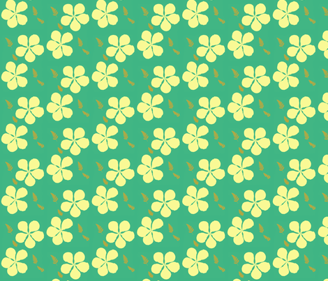 Yellow Hibiscus on Green Background fabric by sombrilla on Spoonflower - custom fabric
