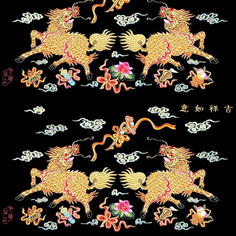 royal white novelty thrones embroidery asian japanese china chinese oriental cheongsam kimono unicorns kirin lotus mythical imperial chinoiserie kings queens museum traditional rank regal korean kabuki geisha yuan ming qing dynasty tapestry vintage empero fabric by raveneve on Spoonflower - custom fabric