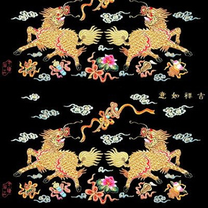 royal white novelty thrones embroidery asian japanese china chinese oriental cheongsam kimono unicorns kirin lotus mythical imperial chinoiserie kings queens museum traditional rank regal korean kabuki geisha yuan ming qing dynasty tapestry vintage empero