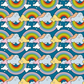 Rainbows to the Max (Bidirectional Blue) || rainbow clouds stars 80s retro pop art pride children kids baby nursery