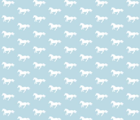 White Pony on Pale Duckegg fabric by thistleandfox on Spoonflower - custom fabric