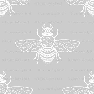 Baby Bee White on Silver