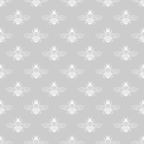 Baby Bee White on Silver fabric by thistleandfox on Spoonflower - custom fabric