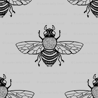 Baby Bee Black on Silver