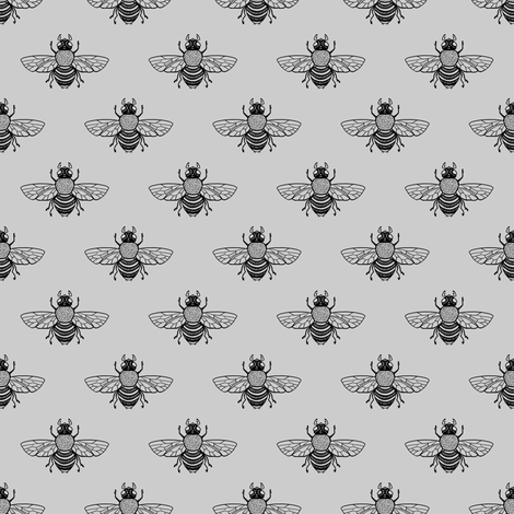 Baby Bee Black on Silver fabric by thistleandfox on Spoonflower - custom fabric
