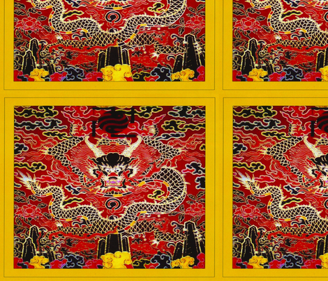royal red novelty thrones embroidery asian japanese china chinese oriental cheongsam kimono dragon peony flowers clouds mountains imperial chinoiserie kings queens museum traditional rank regal korean kabuki geisha yuan ming qing dynasty tapestry vintage  fabric by raveneve on Spoonflower - custom fabric