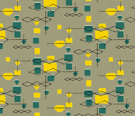 Mid Century Diamonds and Squares 2 fabric by vinpauld on Spoonflower - custom fabric