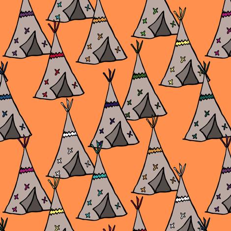 Teepee City Orange fabric by pond_ripple on Spoonflower - custom fabric