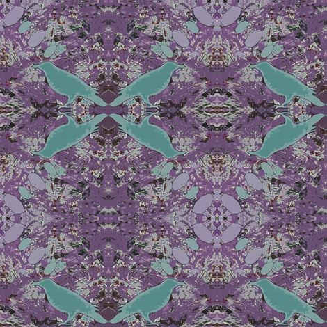 Hippie Raven Orchid Teal fabric by peaceofpi on Spoonflower - custom fabric