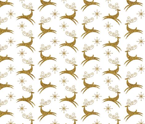 Glitter Reindeer- Jingle Bells Gold fabric by cynthiafrenette on Spoonflower - custom fabric