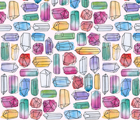 Watercolor Gemstones (large) fabric by logan_spector on Spoonflower - custom fabric