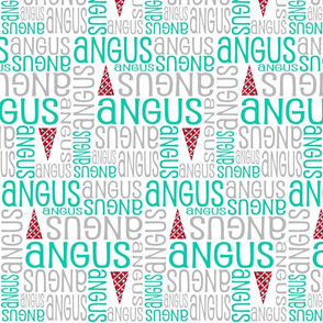 Personalised Name Fabric - Christmas Trees Teal Grey