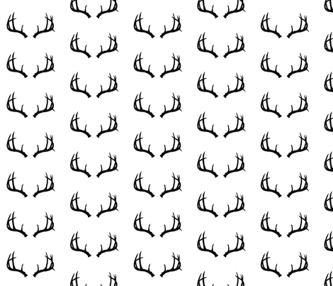 Deer Antlers in Black fabric by hipkiddesigns on Spoonflower - custom fabric