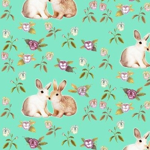 Bunnies in Love Garden, Mint Floral
