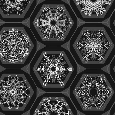 snowflake mini-ornaments on charcoal fabric by weavingmajor on Spoonflower - custom fabric