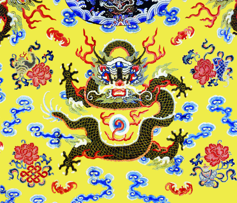 big royal novelty thrones embroidery asian japanese china chinese oriental cheongsam kimono dragon infinity knot clouds fire imperial chinoiserie kings queens museum traditional rank regal korean kabuki geisha yuan ming qing dynasty tapestry vintage emper fabric by raveneve on Spoonflower - custom fabric
