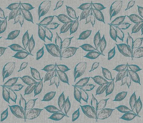 burlap teal leaves fabric by mypetalpress on Spoonflower - custom fabric