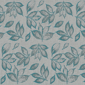 burlap teal leaves